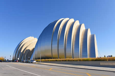 expressionism: KANSAS CITY, MO - OCTOBER 11: Kauffman Center for the Performing Arts in Kansas City, Missouri.  Designed by Architect Moshe Safdie and completed in 2011 as an example of Structural Expressionism, known as High Tech Modernism.