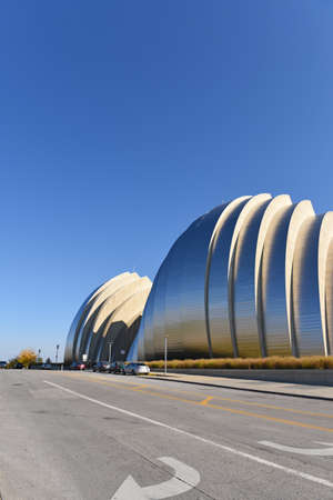KANSAS CITY, MO - OCTOBER 11: Kauffman Center for the Performing Arts in Kansas City, Missouri.  Designed by Architect Moshe Safdie and completed in 2011 as an example of Structural Expressionism, known as High Tech Modernism.