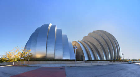 kansas: KANSAS CITY, MO - OCTOBER 11: Kauffman Center for the Performing Arts building in Kansas City, Missouri. Building designed by Architect Moshe Safdie and completed in 2011 as an example of Structural Expressionism also known as High Tech Modernism.