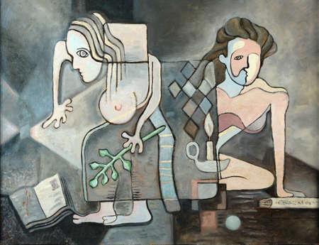 cuadros abstractos: La edad de aprendizaje - óleo sobre tabla Foto de archivo