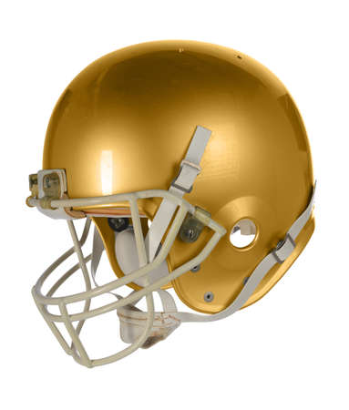 Gold football helmet isolated over white background - With clipping path