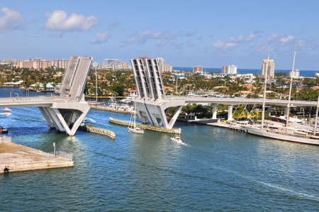 ft lauderdale: View of Fort Lauderdale with open bridge durind sunny day Stock Photo