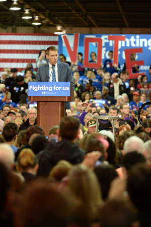 Saint Louis, MO, USA - March 12, 2016: Missouri Secretary of State Jason Kander (D) at Hillary Clinton rally at Nelson-Mulligan Carpenters� Training Center in St. Louis.