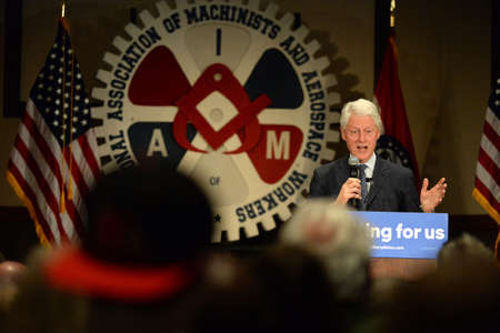 hp: Bridgeton, MOUSA - March 08, 2016: Former president Bill Clinton speaks to supporters at rally for his wife and presidential democratic candidate Hillary Clinton, at District 9 Machinists Hall in Bridgeton, a suburb of St. Louis.