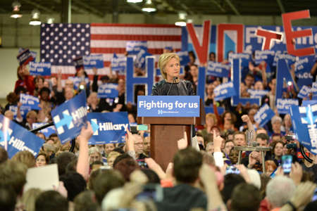 Saint Louis, MO, USA - March 12, 2016: Democratic presidential candidate and former Secretary of State Hillary Clinton campaigns at Nelson-Mulligan Carpenters� Training Center in St. Louis.