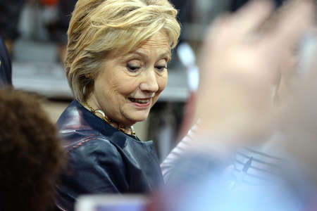 mococa: Saint Louis, MO, USA - March 12, 2016: Democratic presidential candidate and former Secretary of State Hillary Clinton campaigns at Nelson-Mulligan Carpenters Training Center in St. Louis.