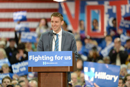 Saint Louis, MO, USA - March 12, 2016: Missouri Secretary of State Jason Kander (D) at Hillary Clinton rally at Nelson-Mulligan Carpenters� Training Center in St. Louis. Editorial