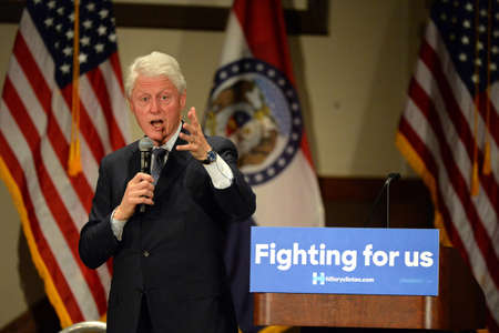 hp: Bridgeton, MOUSA - March 08, 2016: Former president Bill Clinton speaks to supporters of wife and presidential democratic candidate Hillary Clinton, at District 9 Machinists Hall in Bridgeton, outside St. Louis.