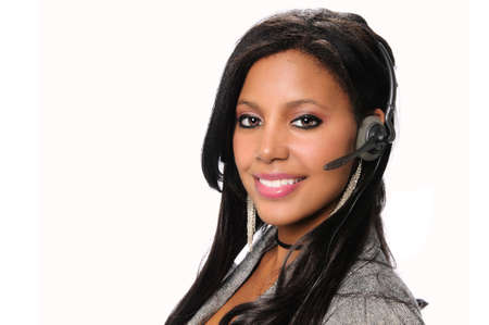 African American businesswoman using headset isolated over white background photo