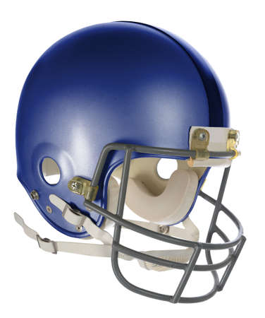 padding: Blue football helmet with clipping path isolated over white background