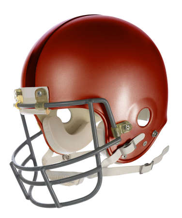 Red football helmet with clipping path isolated over white background