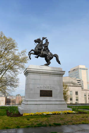 Statue of former president Andrew Jackson in front of the Tennessee State Capitol