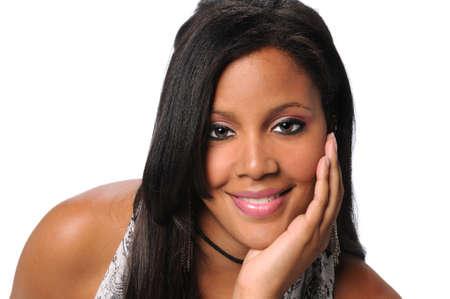 negras africanas: Hermoso de negocios afroamericano sonriente aislados sobre fondo blanco Foto de archivo