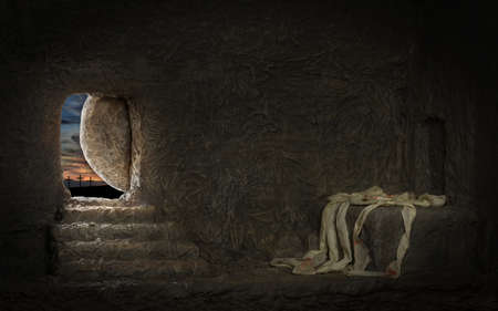 Empty tomb of Jesus with crosses in far hill 스톡 콘텐츠
