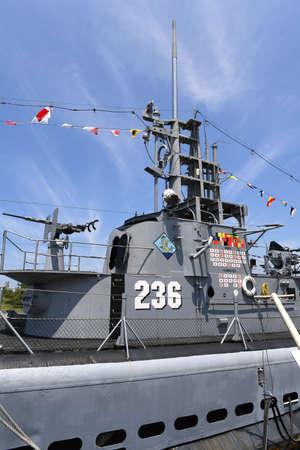 battleship: Muskegon, MI, USA – June 20, 2016: USS Silversides Submarine Museum in Muskegon, Michigan Editorial