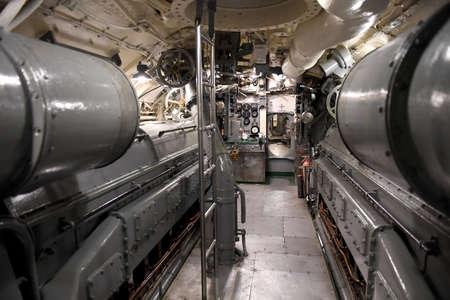engine room: Muskegon, MI, USA – June 20, 2016: Engine room of USS Silversides Submarine Museum in Muskegon, Michigan Editorial