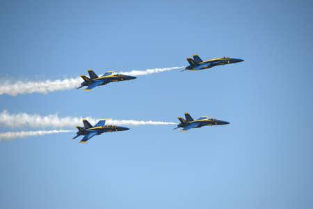 Saint Louis, MO, USA – May 15, 2016: The Blue Angels perform at the Spirit of Saint air show in Saint Louis, Missouri.