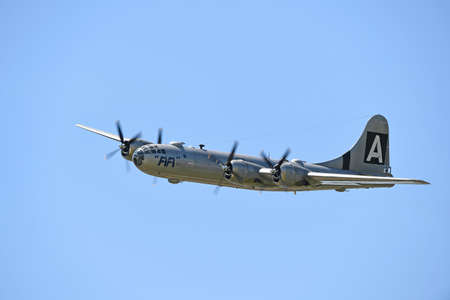 Saint Louis, MO, USA – May 15, 2016: B-29 Superfortress flying at the Spirit of Saint Louis air show in Saint Louis, Missouri