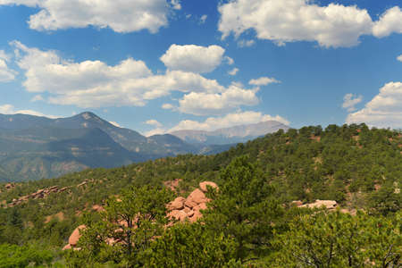 View of Pikes Peak from the Garden of the Gods in Colorado Springs
