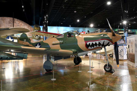 history building: Kalamazoo, MI, USA – June 23, 2016: Bell P-39Q on display at the Air Zoo Museum in Kalamazoo, Michigan Editorial
