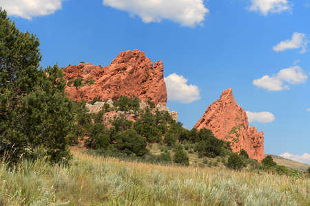View of Garden of the Gods in Colorado Springs Stock Photo