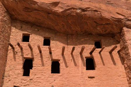 dwellings: Windows at Manitou Cliff Dwellings near Colorado Springs Stock Photo