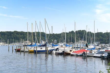 Sailboats in Holland Michigan Harbor