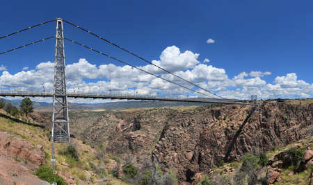 the royal county: Royal Gorge Bridge over the Arkansas River in Colorado - Stitched from five images Stock Photo