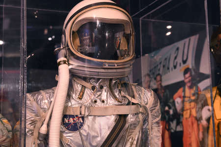 history building: Kalamazoo, MI, USA – June 23, 2016: NASA Mercury space suit on display at the Air Zoo Museum in Kalamazoo, Michigan Editorial