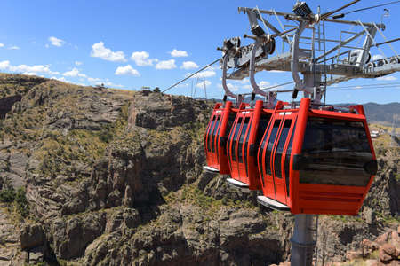 the royal county: Red gondolas at the Royal Gorge in Colorado over the Arkansas river