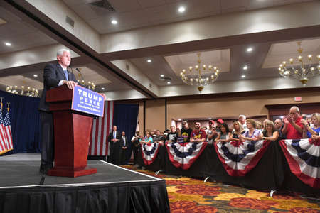 chesterfield: Chesterfield, MO, USA � September 06, 2016: Republican vice presidential candidate, Indiana Governor Mike Pence speaks to supporters at a rally in Chesterfield, Missouri. Editorial
