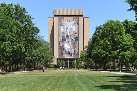 south: South Bend, IN, USA – June 24, 2016: Mural called Touchdown Jesus at the University of Notre Dame campus in  South Bend, Indiana.