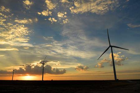 Wind farm at sunset in Kansas