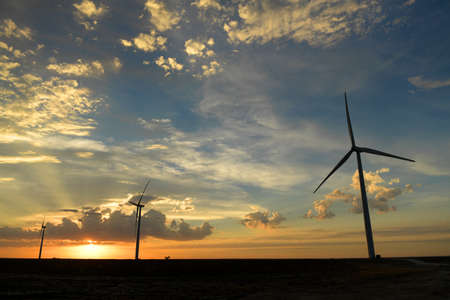 Wind farm at sunset in Kansas