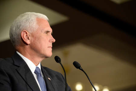 governor: Chesterfield, MO, USA – September 06, 2016: Republican vice presidential candidate, Indiana Governor Mike Pence speaks to supporters at a rally in Chesterfield, Missouri. Editorial