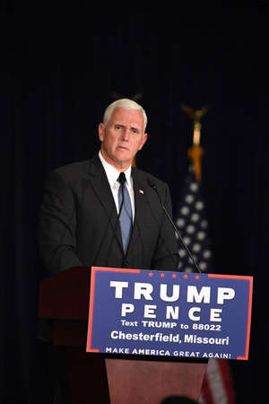 Chesterfield, MO, USA – September 06, 2016: Republican vice presidential candidate, Indiana Governor Mike Pence speaks to supporters at a rally in Chesterfield, Missouri.