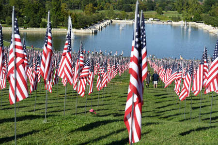 Saint Louis, MO – September 11, 2016: More than 7,000 flags with name, photo and dog tag of soldier killed defending the United States wave outside the St. Louis Art Museum in Saint Louis, Missouri