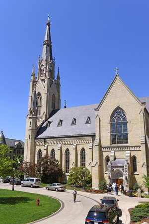 South Bend, IN, USA – June 24, 2016: Cathedral at the University of Notre Dame campus in  South Bend, Indiana.