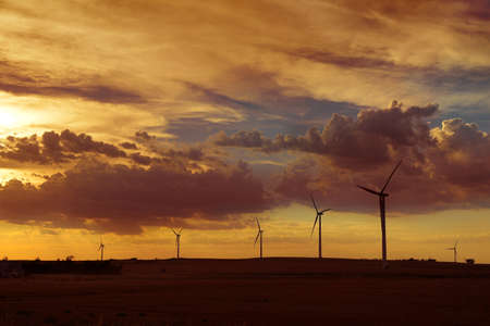Wind turbines farm on the plains of Kansas Stock Photo