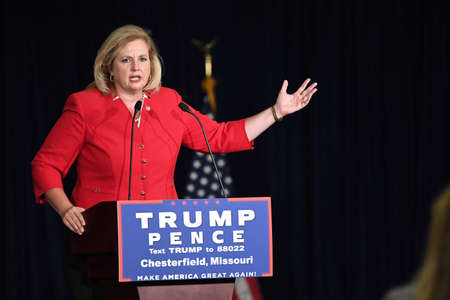 governor: Chesterfield, MO, USA – September 06, 2016: Catherine Hanaway speaks at Indiana Governor Mike Pence rally in Chesterfield, Missouri. Editorial
