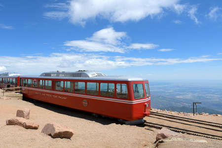 Pikes Peak, CO, USA - July 19, 2016: Manitou and Pikes Peak Railway on top of the mountain in Manitou Springs, Colorado