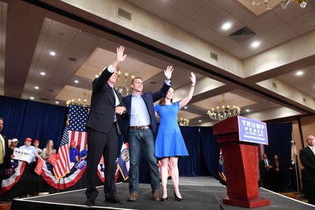 governor: Chesterfield, MO, USA – September 06, 2016: Republican vice presidential candidate, Mike Pence, Missouri Republican candidate for Governor Eric Greitens and wife Sheena greet supporters at a rally in Chesterfield, Missouri.