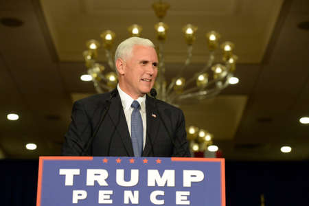 Chesterfield, MO, USA – September 06, 2016: Republican vice presidential candidate, Indiana Governor Mike Pence speaks to supporters at a rally in Chesterfield, Missouri. Editorial