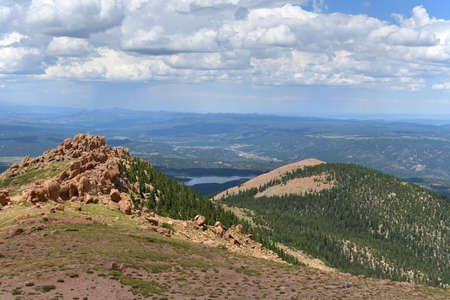 Mountains in Pikes Peak in Colorado showing calley below