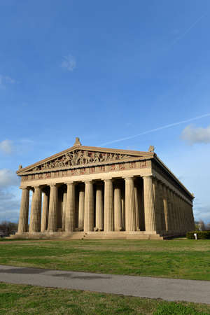 View of replica of Parthenon in Centennial Park in Nashville, Tennessee during late afternoon Stock Photo