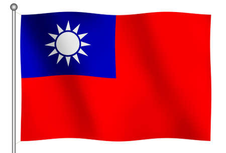 Flag of Taiwan Waving (With Clipping Path) Editorial