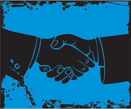 formal signature: Two business mans hand shake.  Illustration