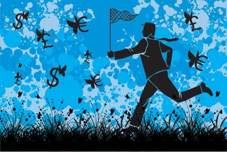 flying money: Business man is cathing flying money Illustration