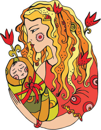 birth day: Mother with chiln in her arms, vector.