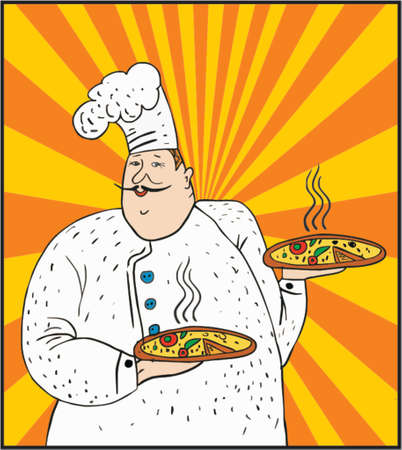Cooker with a pizzas in his arms Vector
